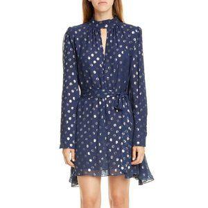 Saloni Tania Jacquard Dot Long Sleeve Silk Dress 0